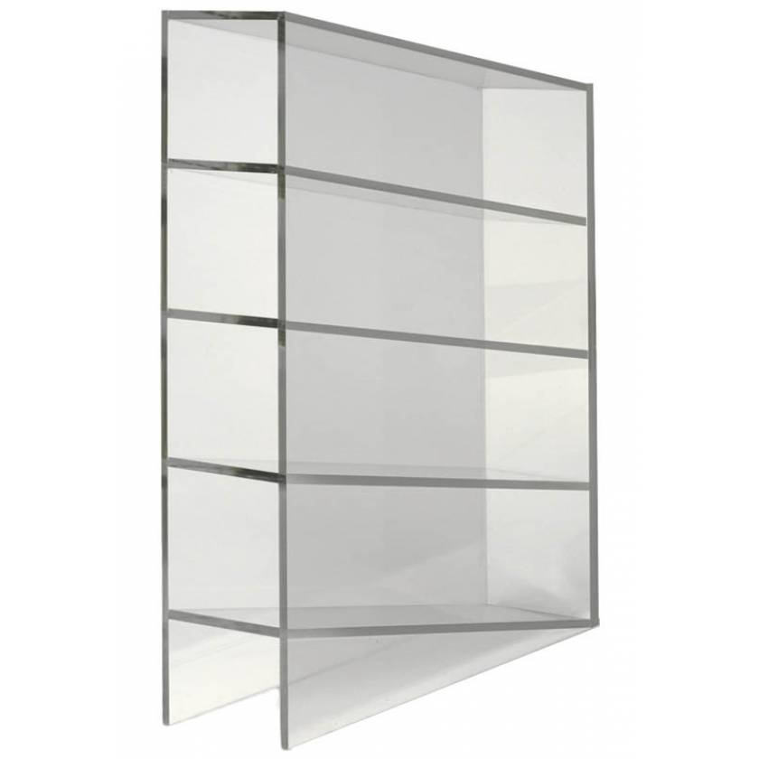 Clear Acrylic Manual Pipette Rack With Angled Four Shelf Compartments