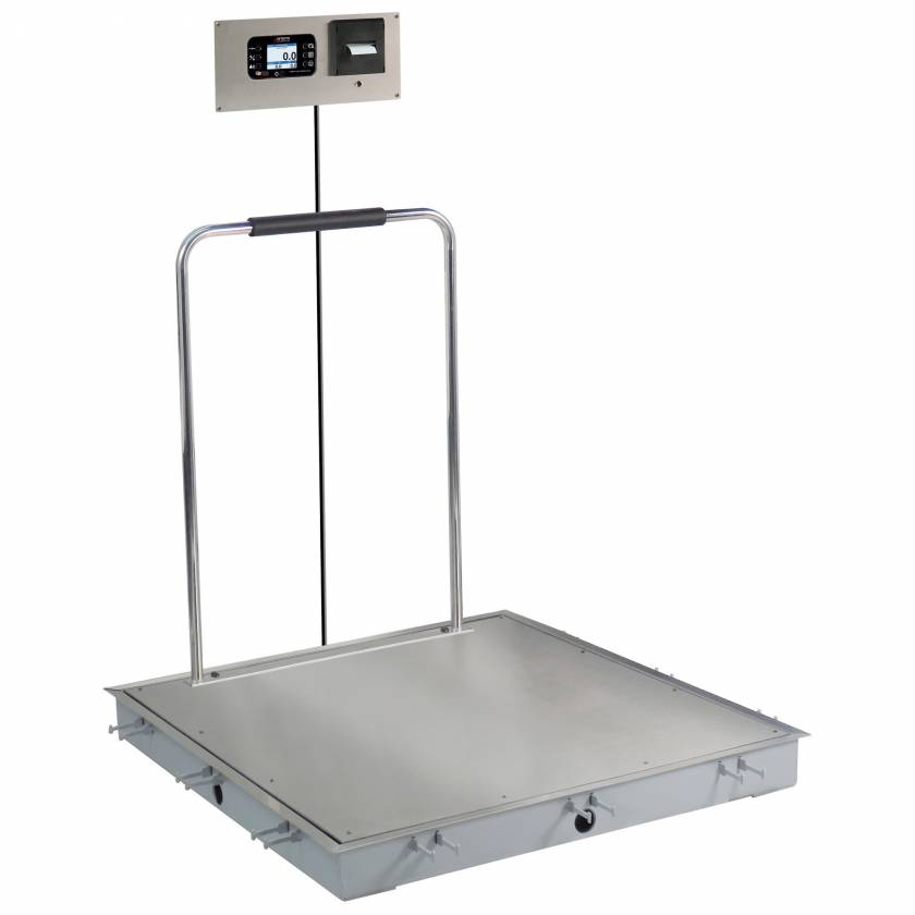 """Detecto Solace In-Floor Dialysis Scale with Hand Rail - 36"""" x 36"""" Stainless Steel Platform"""