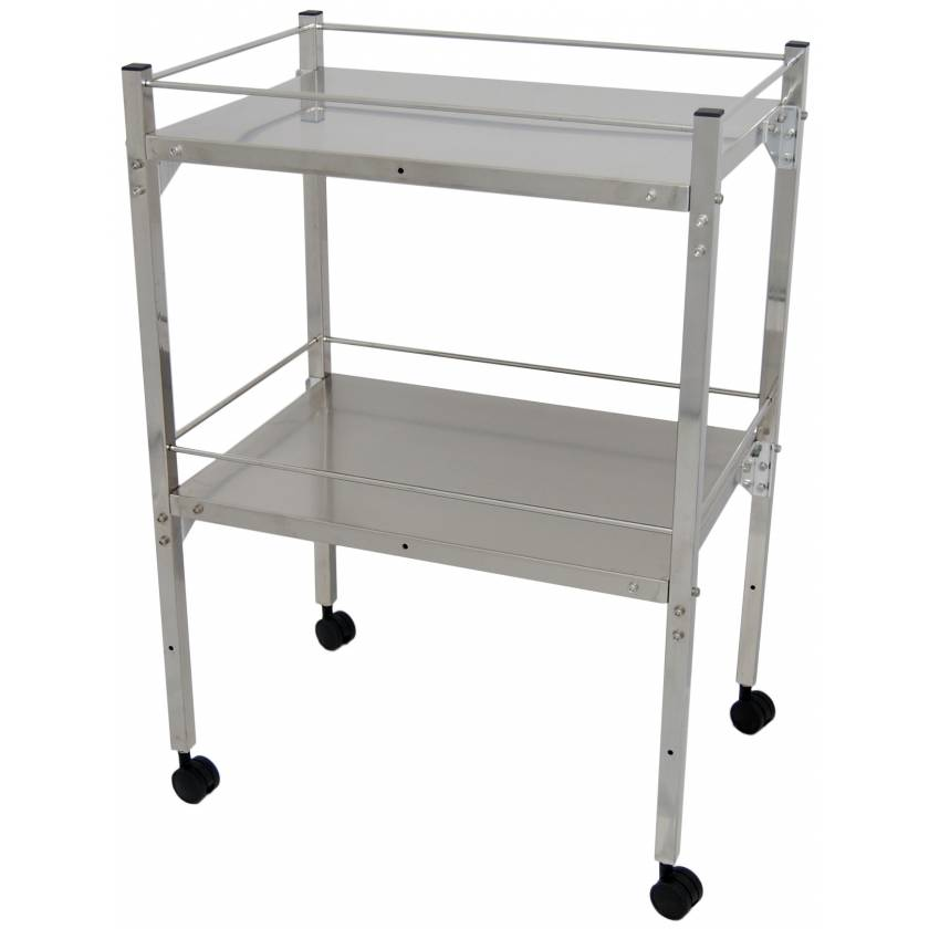 MRI Non-Magnetic Utility Table with Two Shelves & GuardRails