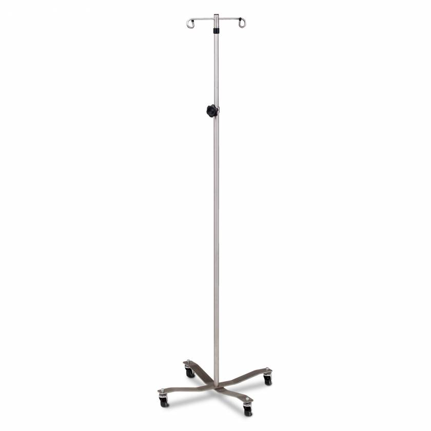 Clinton IVS-312 Economy Stainless Steel IV Pole With Detachable 2-Hook Top