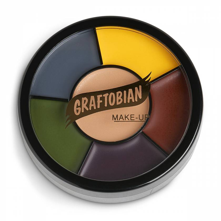 Contains six colors commonly used to create bruises and contusions: warm honey, maroon, dark purple, yellow, forest green, and thunder gray. 1-oz. wheel.