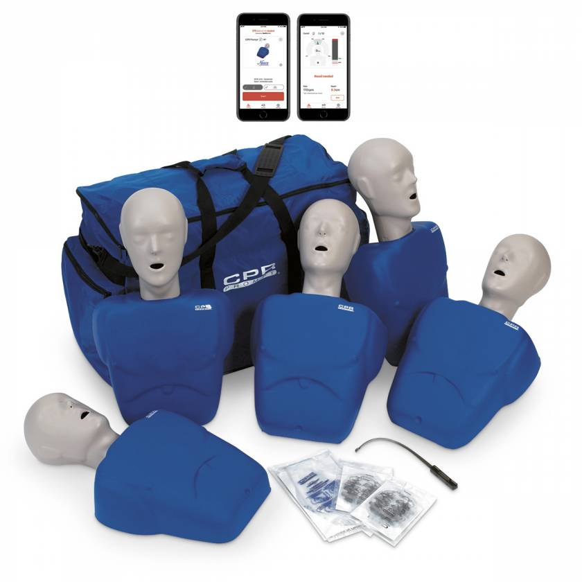 LF06100A CPR Prompt Plus Powered by Heartisense Training and Practice Adult/Child Manikin - 5-Pack, Blue (iPhone NOT INCLUDED)