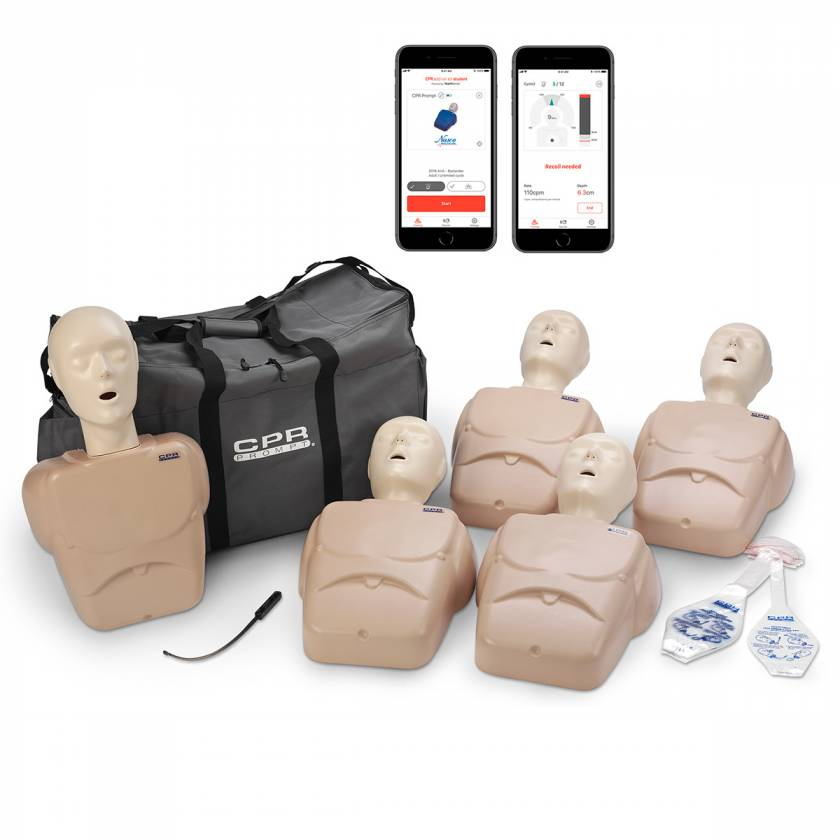 LF06102A CPR Prompt Plus Powered by Heartisense Training and Practice Adult/Child Manikin - 5-Pack, Tan (iPhone NOT INCLUDED)