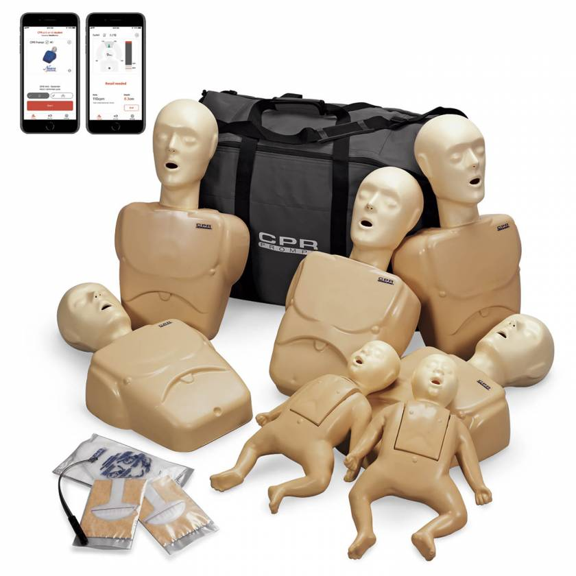 LF06702A CPR Prompt Plus Powered by Heartisense Complete TPAK700 Adult/Child & Infant Manikin Training 7-Pack - Tan (iPhone NOT INCLUDED)