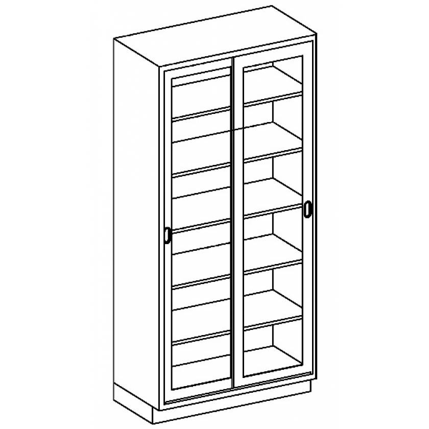 Stainless Steel High Cabinet with Sliding Glazed Door