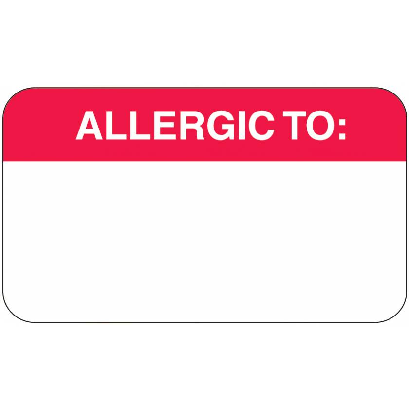 "ALLERGIC TO Label - Size 1 1/2""W x 7/8""H - Box of 250"