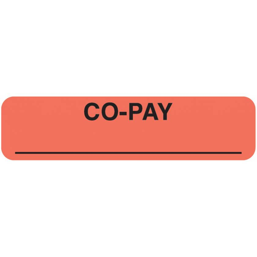 "CO-PAY Label - Size 1 1/4""W x 5/16""H"