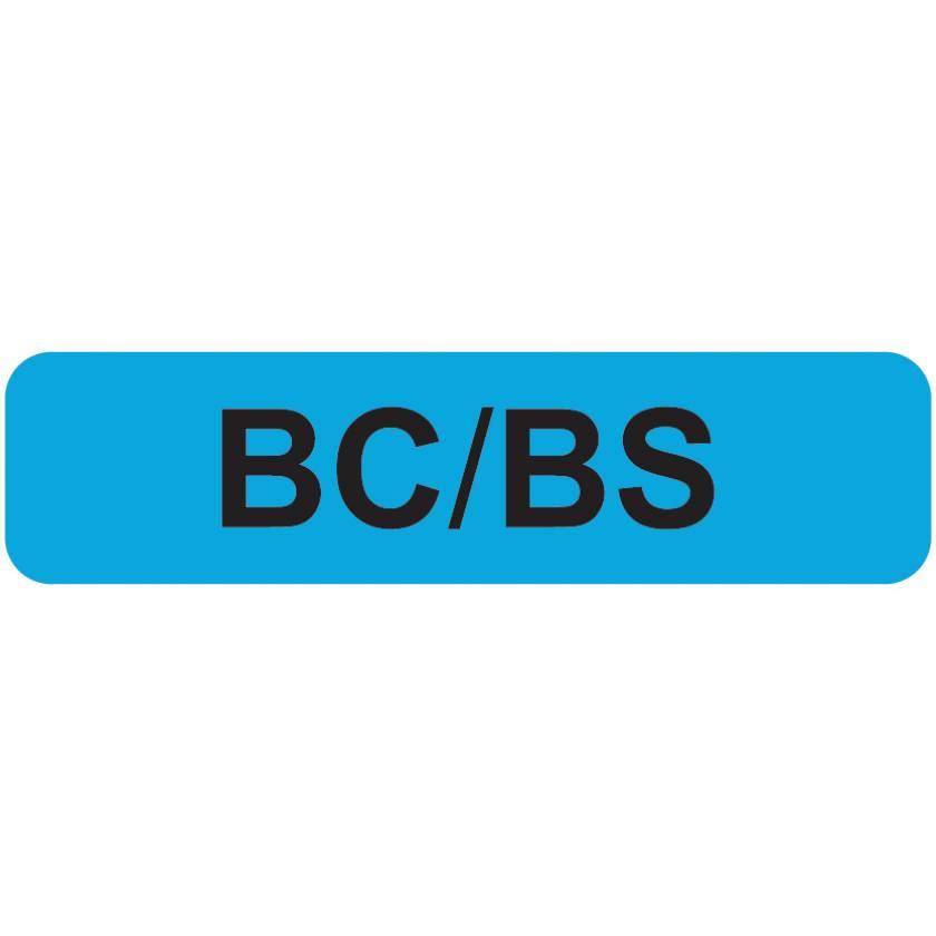 "BC/BS Label - Size 1 1/4""W x 5/16""H"
