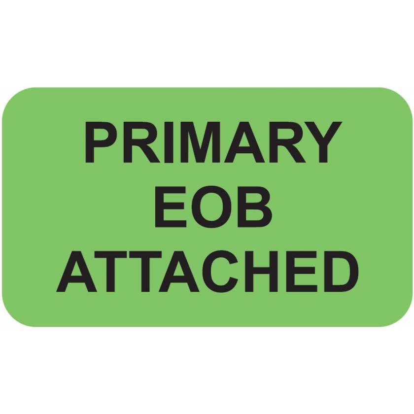 "PRIMARY EOB ATTACHED Label - Size 1 1/2""W x 7/8""H"