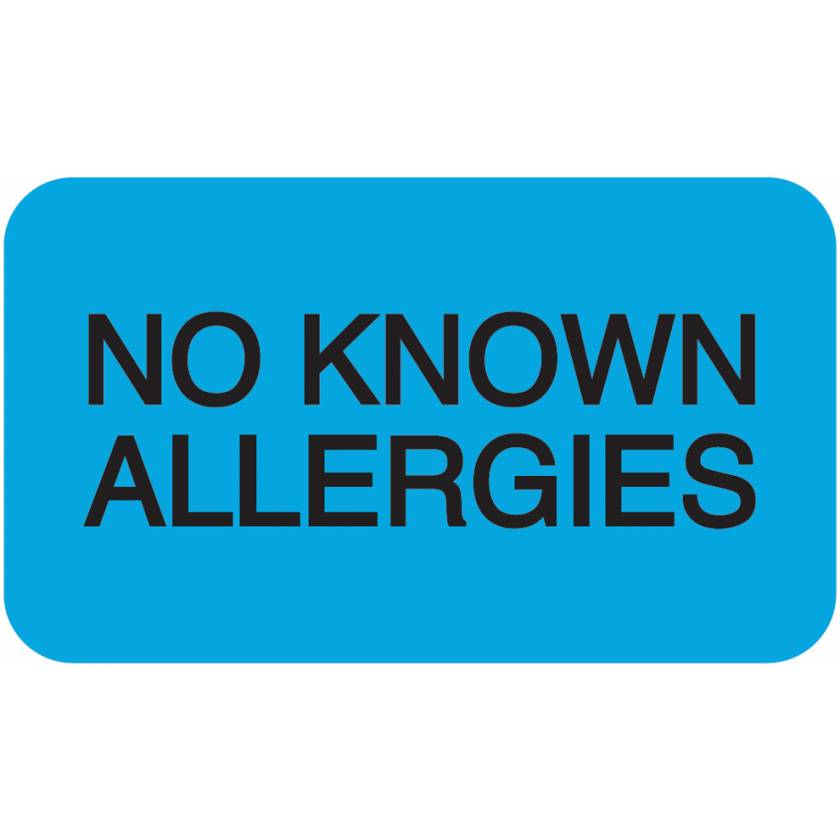 "NO KNOWN ALLERGIES Label - Size 1 1/2""W x 7/8""H"