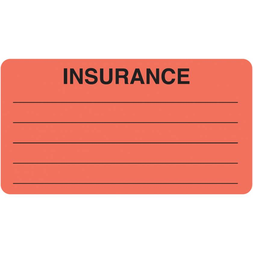 "INSURANCE Label - Size 3 1/4""W x 1 3/4""H"