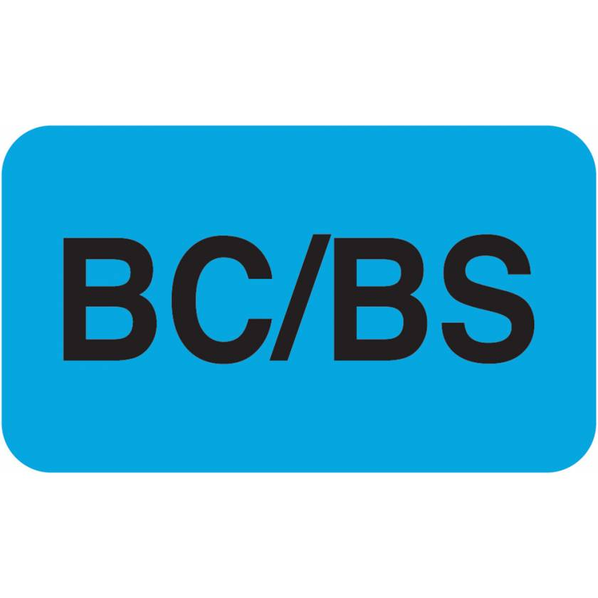 """BC/BS Label - Size 1 1/2""""W x 7/8""""H"""