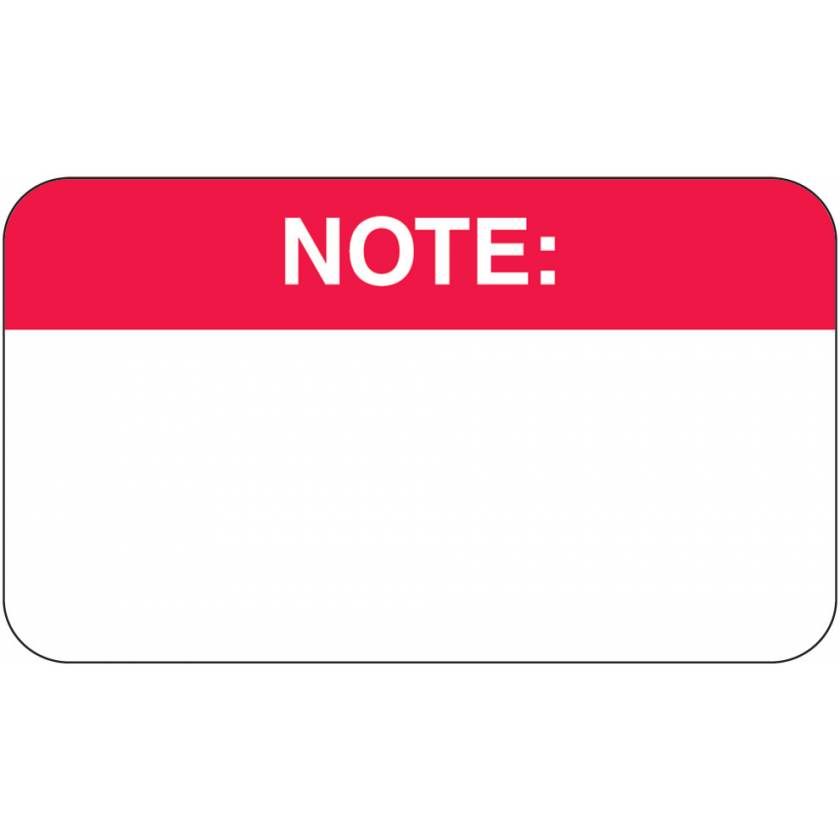 """NOTE Label - Size 1 1/2""""W x 7/8""""H"""
