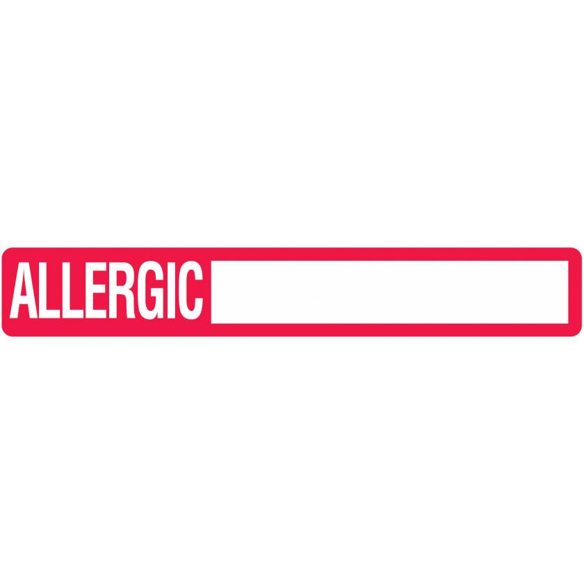 "ALLERGIC Label - Size 6 1/2""W x 1""H"