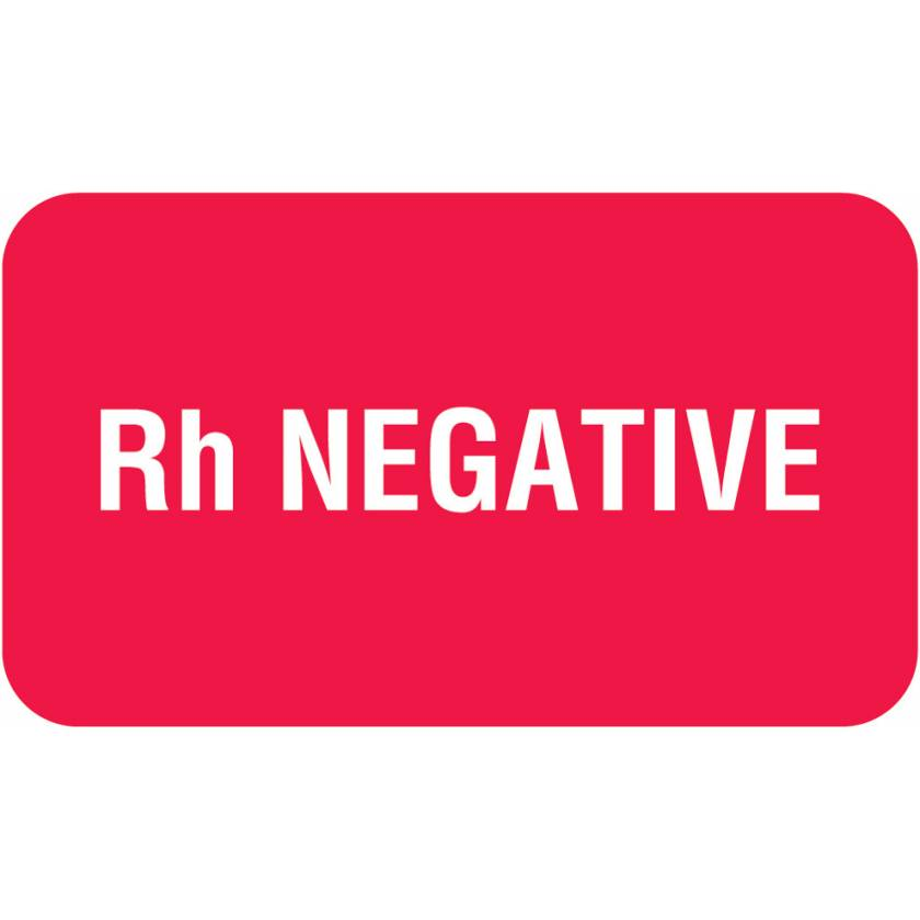 "Rh NEGATIVE Label - Size 1 1/2""W x 7/8""H"