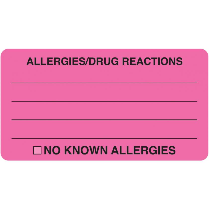"""ALLERGIES DRUG REACTIONS Label - Size 3 1/4""""W x 1 3/4""""H - Fluorescent Pink"""