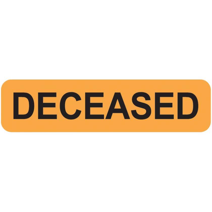 """DECEASED Label - Size 1 1/4""""W x 5/16""""H - Fluorescent Orange"""