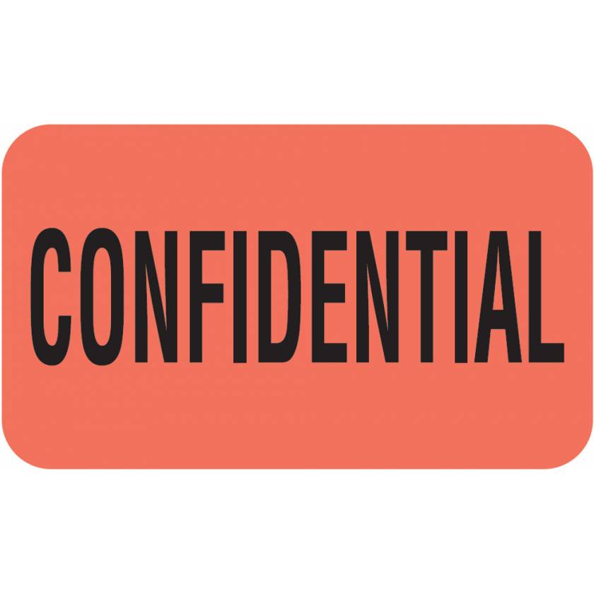 "CONFIDENTIAL Label - Size 1 1/2""W x 7/8""H - Fluorescent Red"