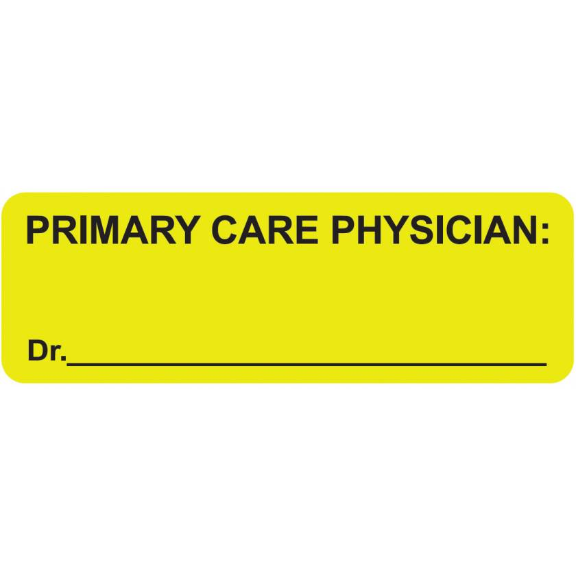 """PRIMARY CARE PHYSICIAN Label - Size 3""""W x 1""""H"""
