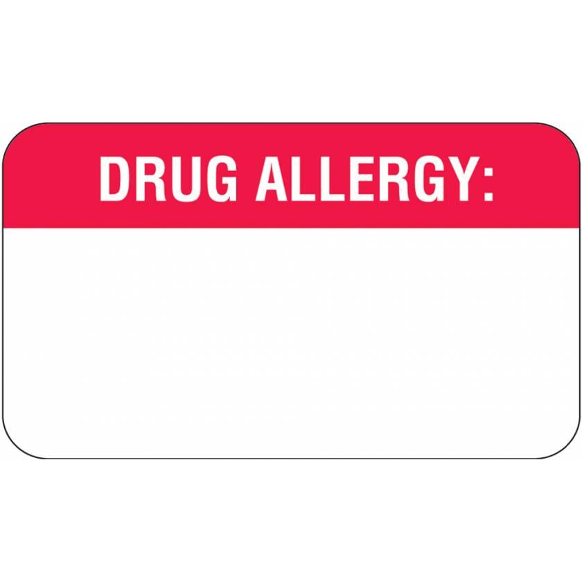 "DRUG ALLERGY Label - Size 1 1/2""W x 7/8""H"