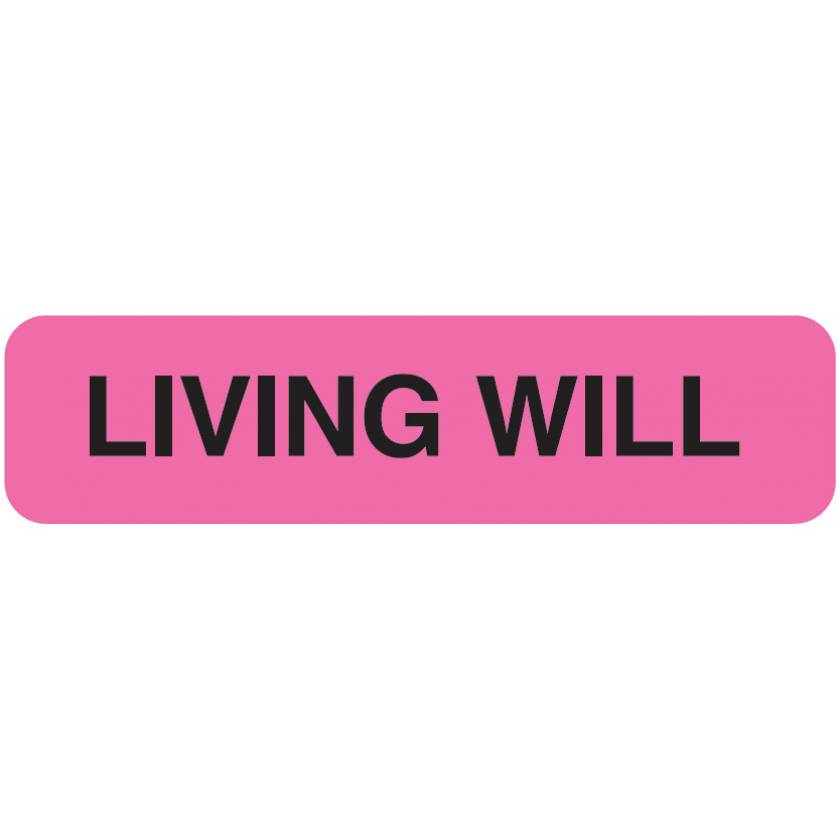 "LIVING WILL Label - Size 1 1/4""W x 5/16""H"