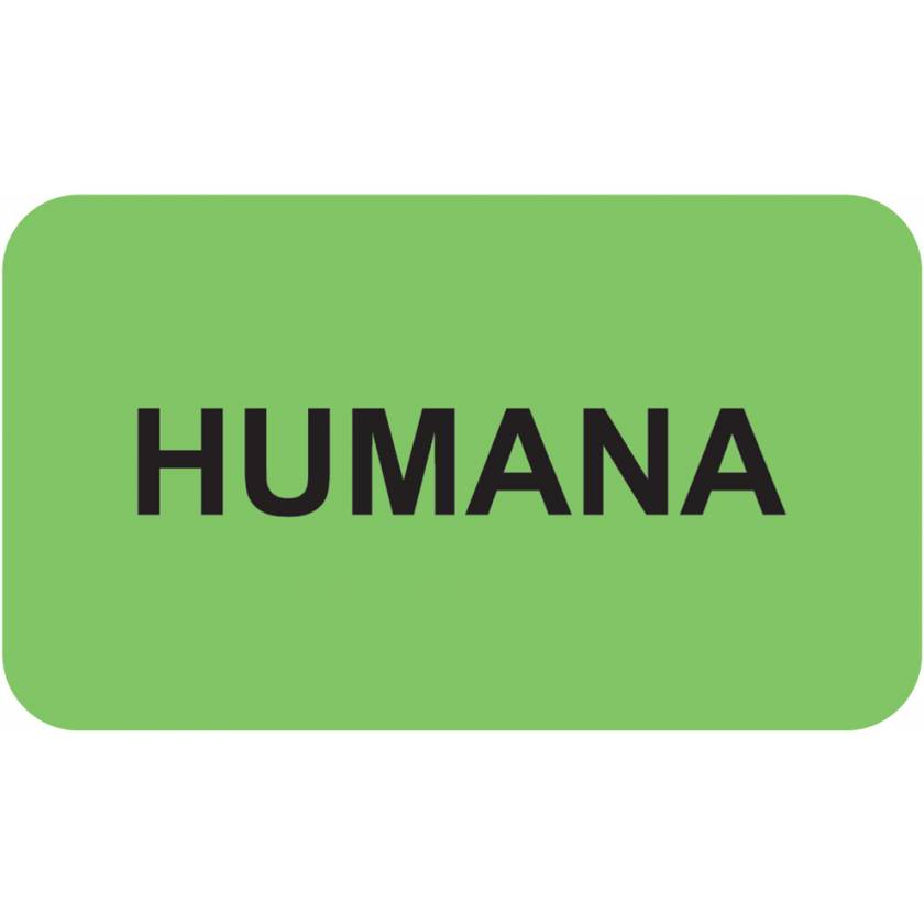 """HUMANA Label - Size 1 1/2""""W x 7/8""""H"""