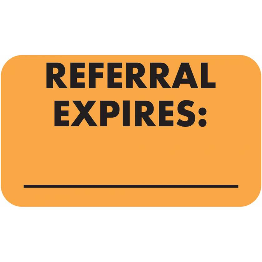 "REFERRAL EXPIRES Label - Size 1 1/2""W x 7/8""H"