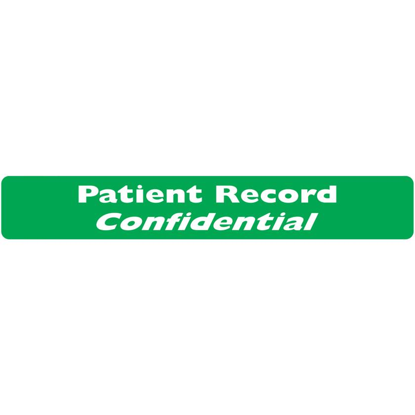 "PATIENT RECORD CONFIDENTIAL Label - Size 6 1/2""W x 1""H"