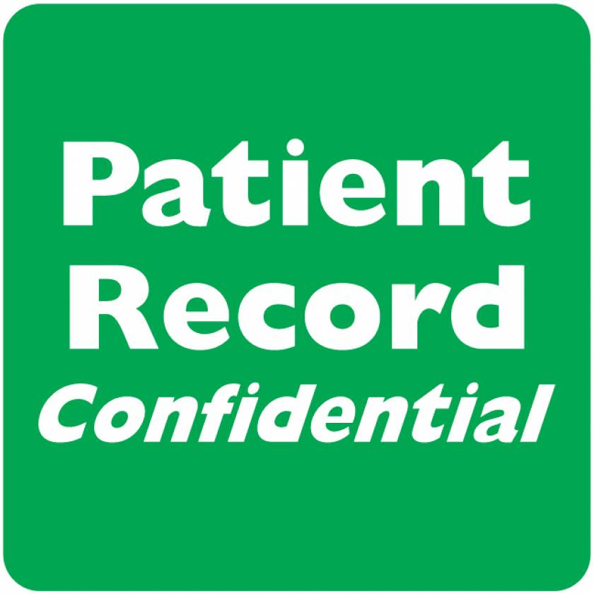 "PATIENT RECORD CONFIDENTIAL Label - Size 2""W x 2""H"