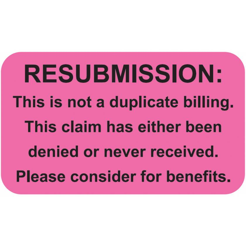 """RESUBMISSION Label - Size 1 1/2""""W x 7/8""""H"""