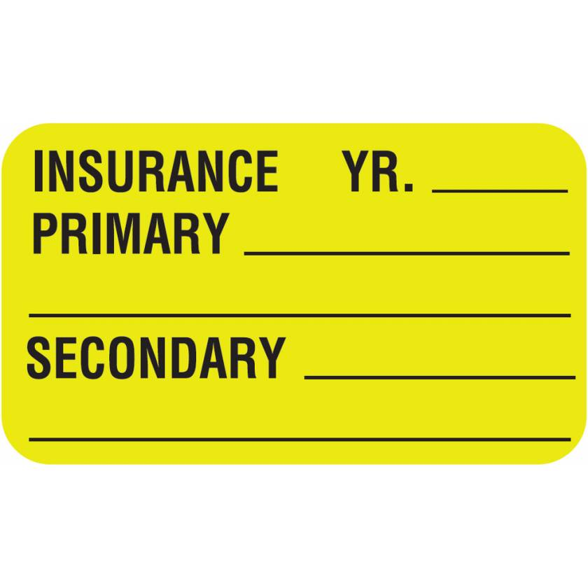 """INSURANCE PRIMARY SECONDARY Label - Size 1 1/2""""W x 7/8""""H"""