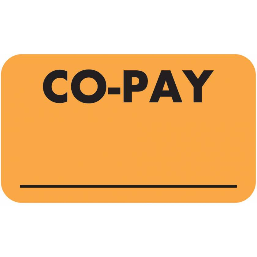 "CO-PAY Label - Size 1 1/2""W x 7/8""H"