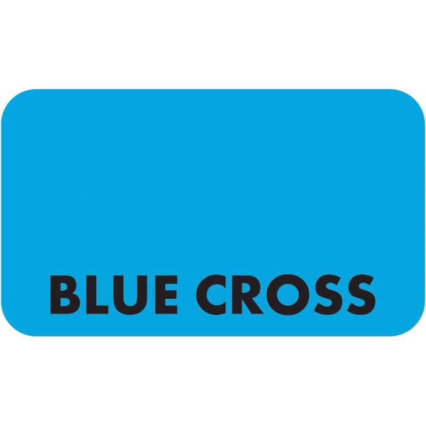 "BLUE CROSS Label - Size 1 1/2""W x 7/8""H"