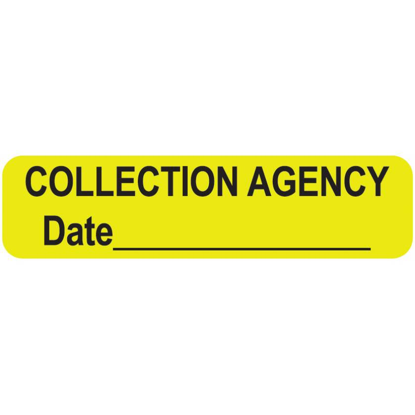 """COLLECTION AGENCY Label - Size 1 1/4""""W x 5/16""""H"""