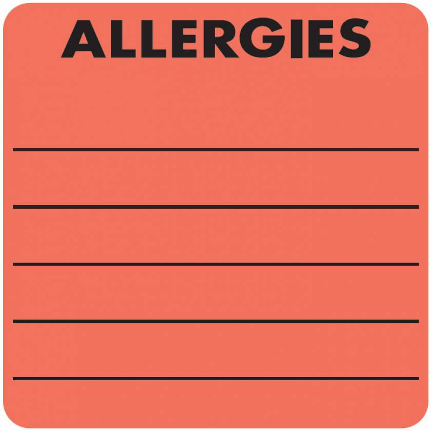 "ALLERGIES Label - Size 2""W x 2""H"