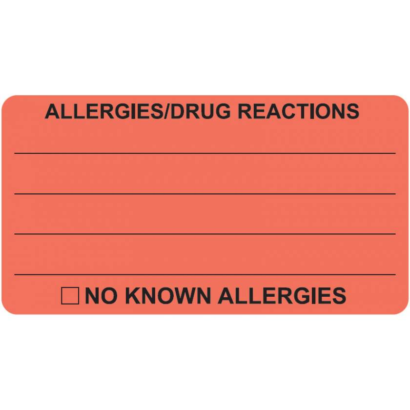 """ALLERGIES DRUG REACTIONS Label - Size 3 1/4""""W x 1 3/4""""H - Fluorescent Red"""