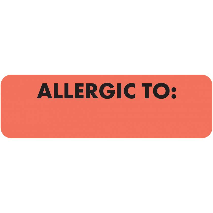 """ALLERGIC TO Label - Size 2 1/2""""W x 3/4""""H - Fluorescent Red"""