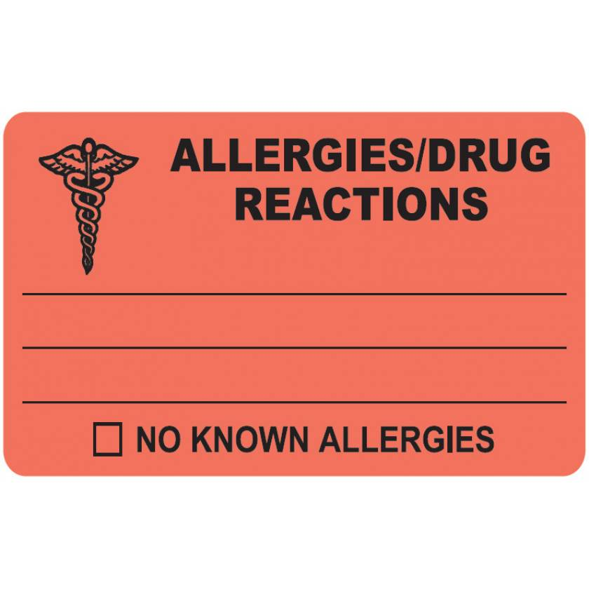 """ALLERGIES DRUG REACTIONS Label - Size 4""""W x 2 1/2""""H"""
