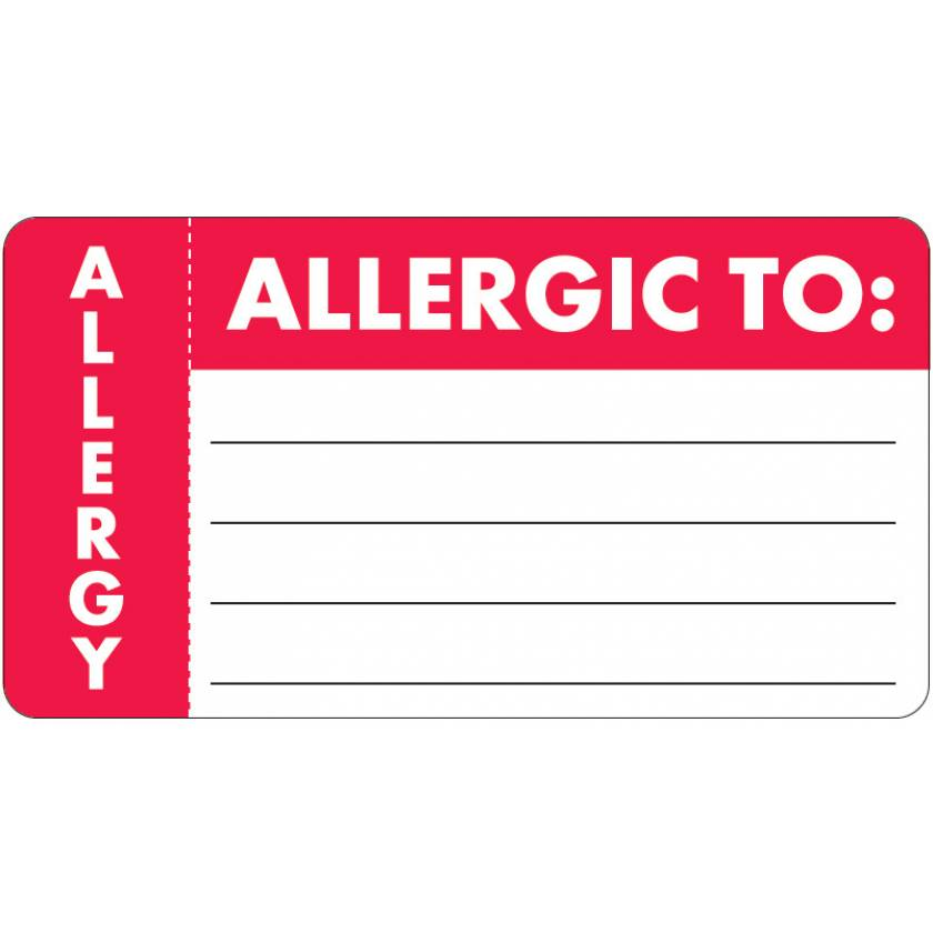 "ALLERGIC TO Label - Size 3 1/4""W x 1 3/4""H - Left Side Wrap-Around"