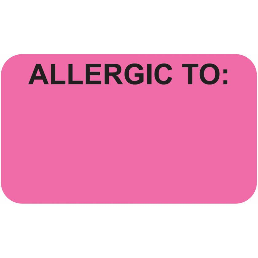 """ALLERGIC TO Label - Size 1 1/2""""W x 7/8""""H - Fluorescent Pink"""