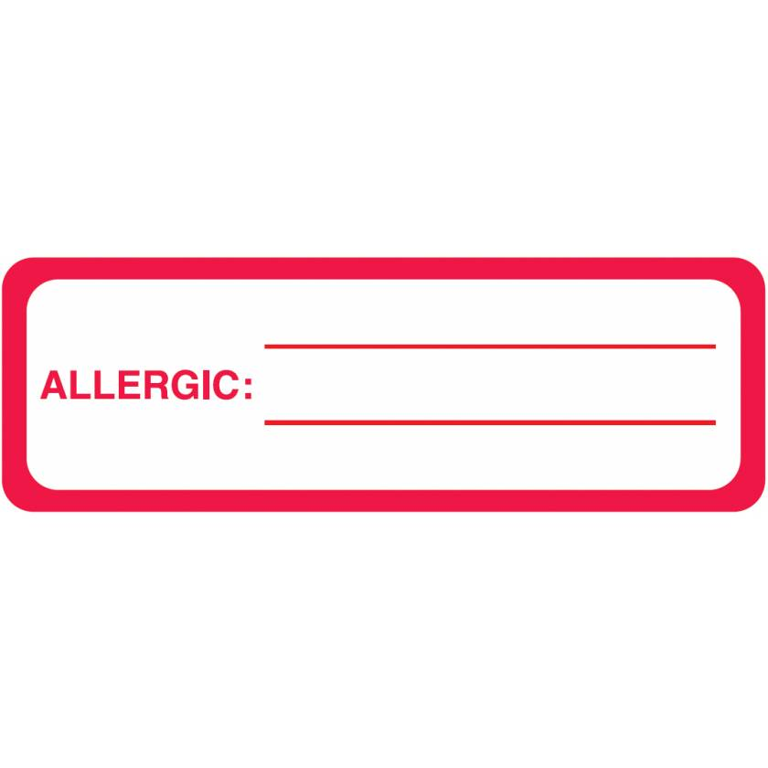 "ALLERGIC Label - Size 3""W x 1""H"