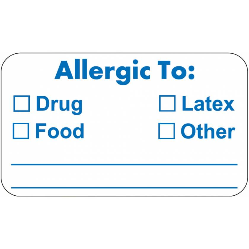 "ALLERGIC TO Label - Size 1 1/2""W x 7/8""H - Blue on White"