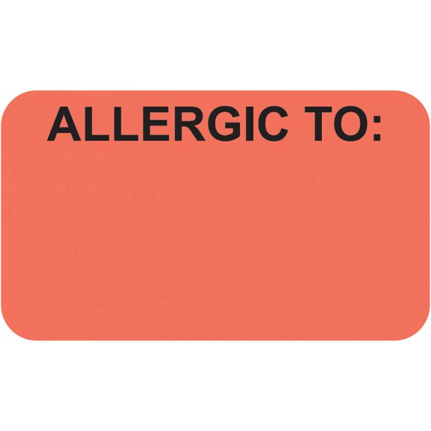 "ALLERGIC TO Label - Size 1 1/2""W x 7/8""H - Fluorescent Red"