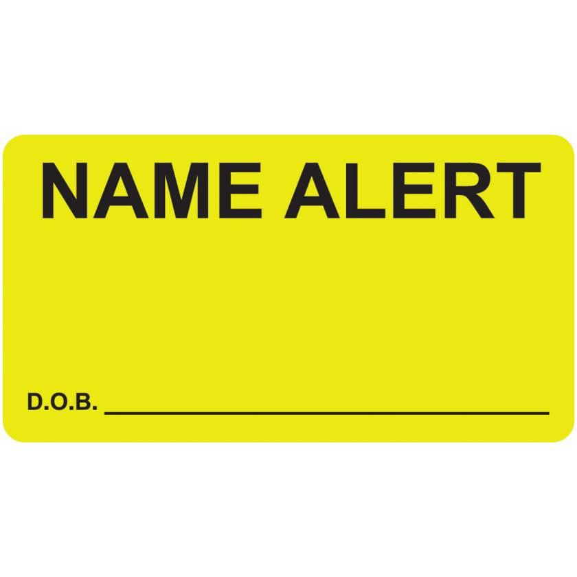 """NAME ALERT D.O.B. Label - Size 3 1/4""""W x 1 3/4""""H"""
