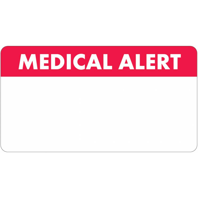 """MEDICAL ALERT Label - Size 3 1/4""""W x 1 3/4""""H - White Font on Red/White Label"""