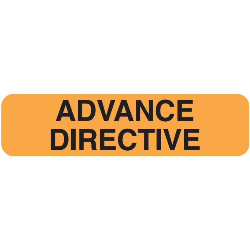 "ADVANCE DIRECTIVE Label - Size 1 1/4""W x 5/16""H - Fluorescent Orange"