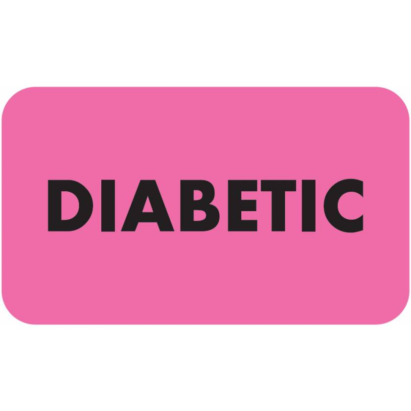 "DIABETIC Label - Size 1 1/2""W x 7/8""H - Fluorescent Pink"