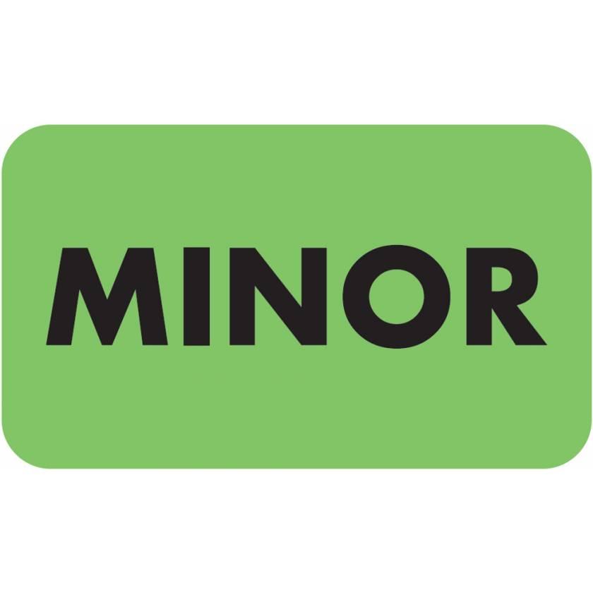 "MINOR Label - Size 1 1/2""W x 7/8""H"