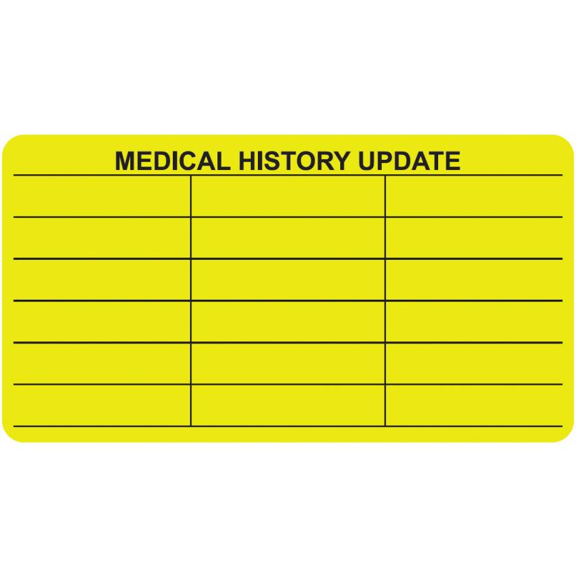 "MEDICAL HISTORY UPDATE Label - Size 3 1/4""W x 1 3/4""H"