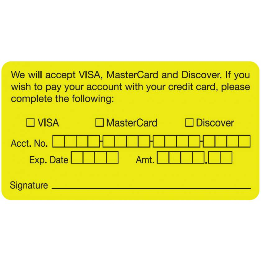 """WE WILL ACCEPT VISA MASTERCARD DISCOVER CARD Label - Size 3 1/4""""W x 1 3/4""""H"""
